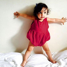 Girl Romper 2016 Summer Kids Baby Girls Clothes Infant Clothes Cotton Breezy Toddler Out Wear Wine Red Jumpsuit