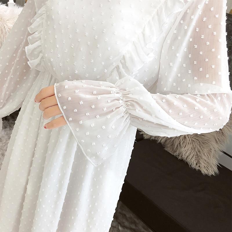 Susi&Rita Spring Chiffon Dress Women Vintage Long Sleeve Ruffled Party Dress Summer Sexy Ladies Beach Dress Vestidos Strand Jurk