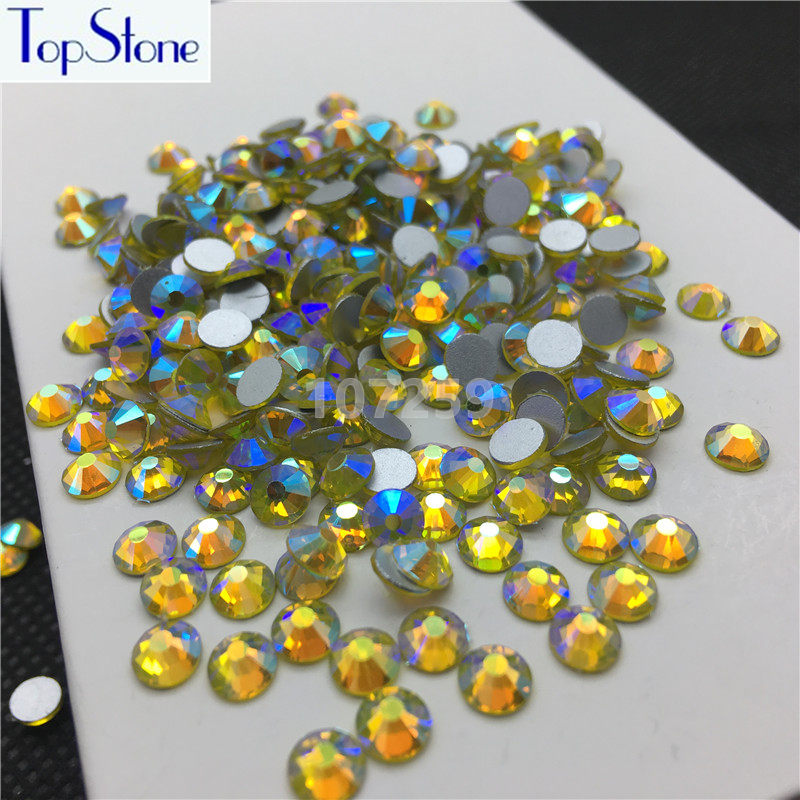 TopStone Citrine AB Color ss3-ss30 Round Glass Crystal Flatbacks Nail Art  3D Stones Glue On Non Hotfix Rhinestones 76b6d42dac59