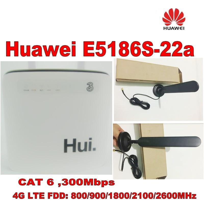 Разблокированный cat6 300 Мбит/с huawei e5186 E5186s 22a 4g LTE беспроводной маршрутизатор 4g wifi ключ Мобильная точка доступа с антенной