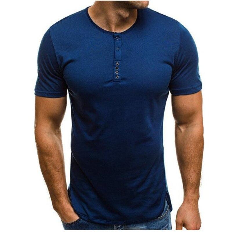 2018 Summer Men's Casual Slim T-shirt  Fashion Buttons Design Short Sleeves Short Sleeve Top