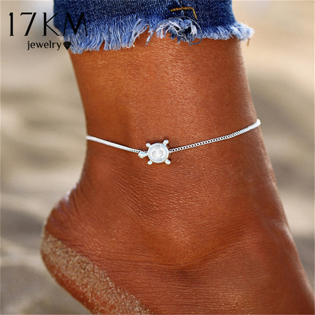 17KM New Boho Silver Color Animal Anklets for Women Girl Bohemian Chain Beads Anklet Beach Bracelet DIY Foot Jewelry Party Gift