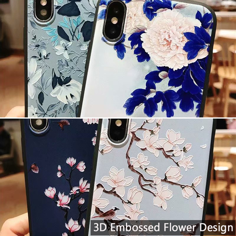 KIPX1051_5_JONSNOW 3D Emboss Flowers Soft Case for iPhone XS XR Cases for iPhone 6S 7P 8 Plus XS Max Phone Cover