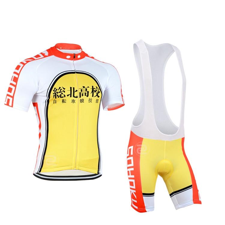 Yowamushi Pedal sohoku Cycling Full set men Bike Jersey suit Yellow Bicycle Clothing/ Cycling Equipment