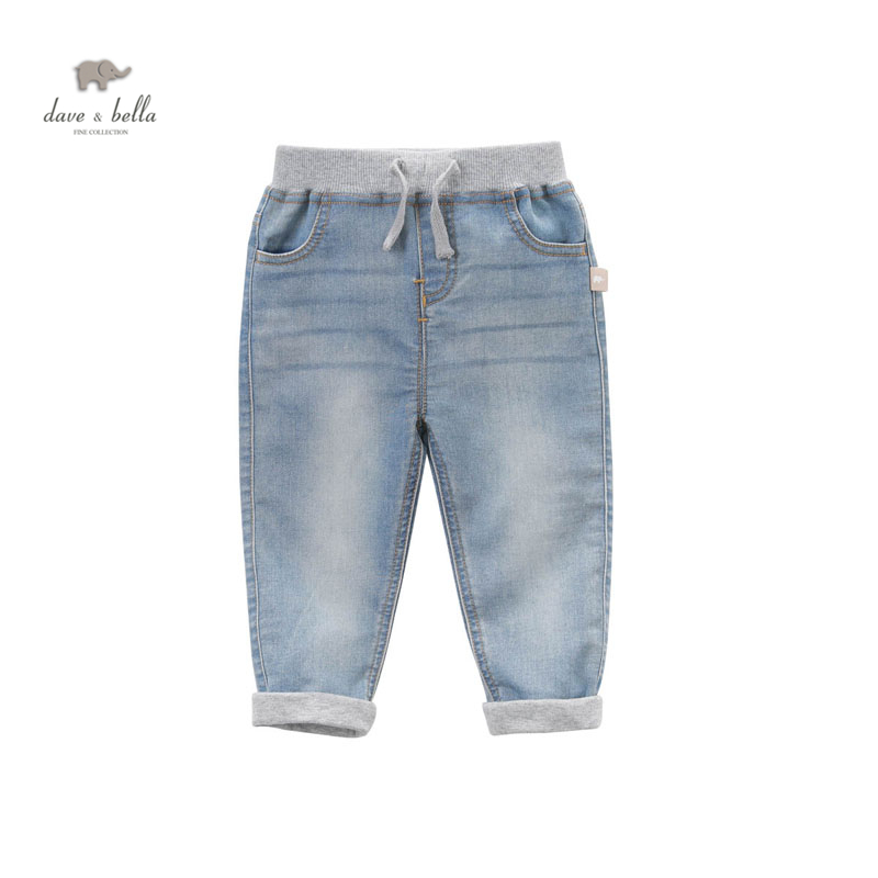 DB4937 dave bella spring latest baby boys light blue jeans kids fashion jeans blue pants calvin klein baby boys gray polo with blue pants