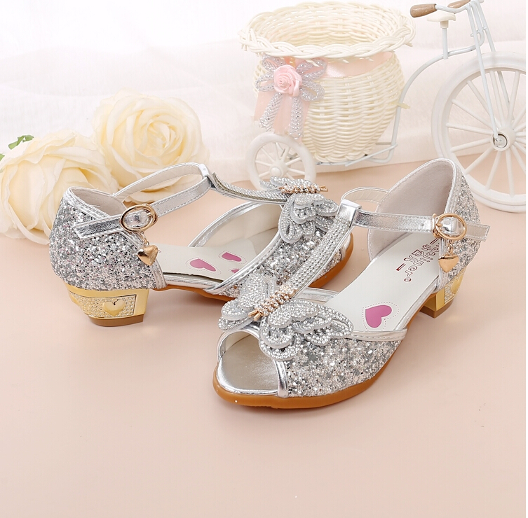 Hot Sale Kinderschoenen Crystal Bow Shiny High Heels Princess Shoes - Kinderschoenen - Foto 2