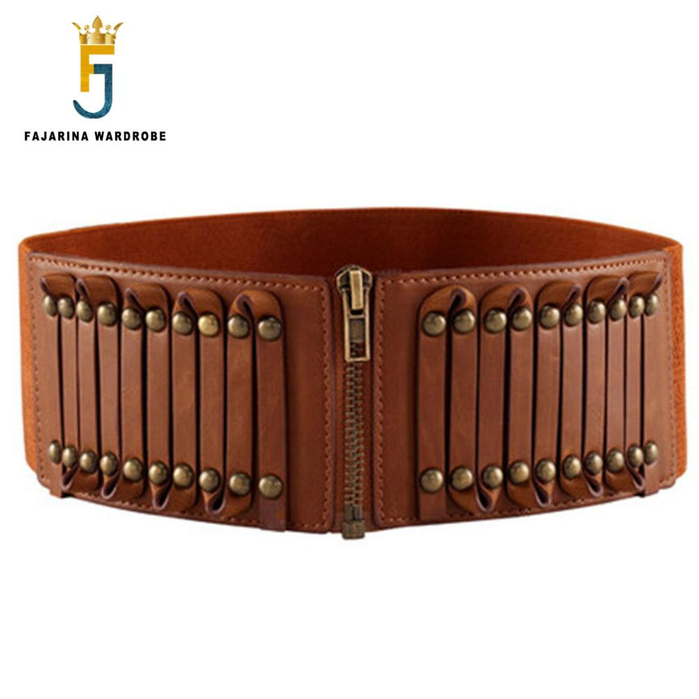 FAJARINA All-match Retro 8cm Wide Zipper Decorative Elastic Genuine Leather Belts For Women Rivet Type Waistband Belt LDFJ007