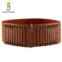 All-match Casual Retro 8cm Wide Zipper Decorative Elastic Genuine Leather Belts for Women Rivet Type Waistband Belt LDFJ007