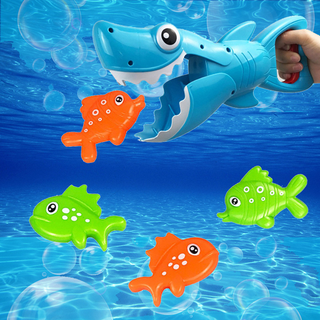 Grabber Cute Animal Bath Toy For Boys And Girls Water Toy Blue Fish With Teeth With 4 Toy Fishe Kids Beach Bath Toys Z713