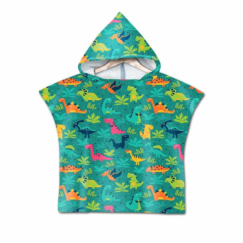 Double sided Printed dinosaur Cartoon Pattern Beach Towel Baby Children Hooded Bath Towel Baby Boys Girls Bath Soft Towel HT1