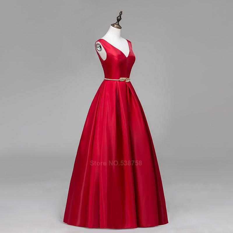 V-cou Double épaule robe de bal longue a-ligne rouge élégant tache formelle soirée robes robe de soirée livraison gratuite - 5