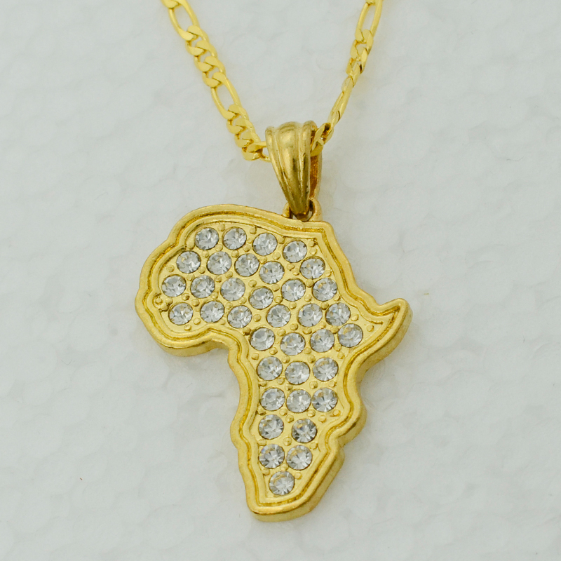 Anniyo Africa Map Pendant Necklace WomenMen Gold Color With