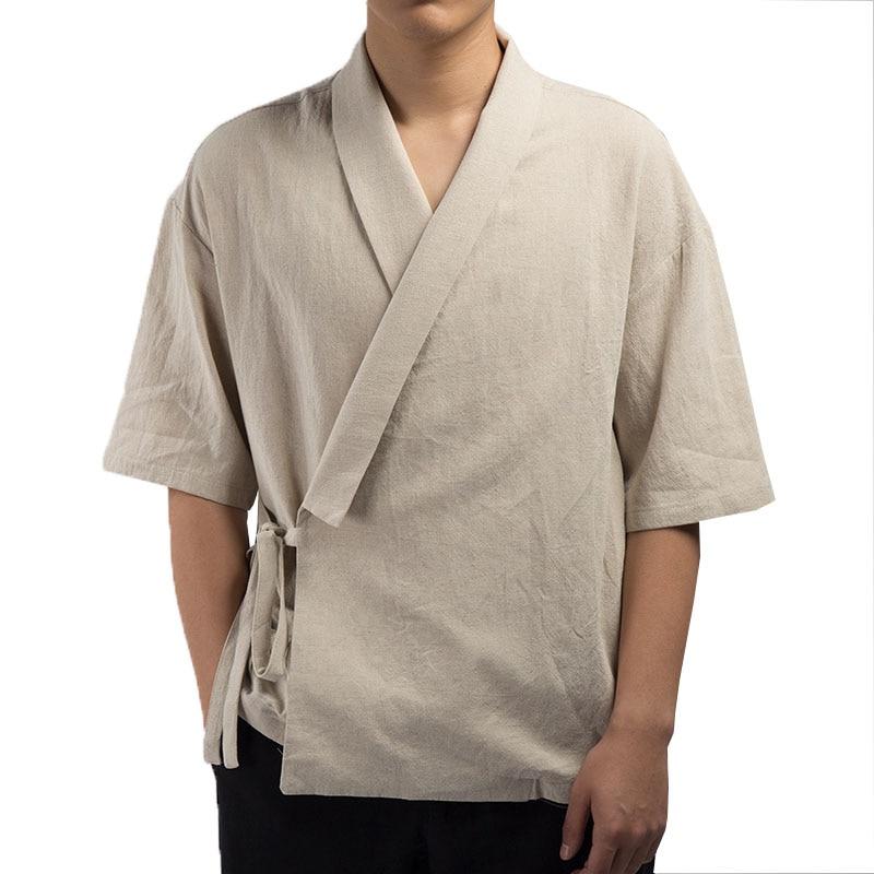2019 Men Shirt Kimono Japanese Harajuku Mens Shirt Linen Retro Origin Streetwear Cardigan Outwear Traditional Open Stitch Shirts Shirts Casual Shirts