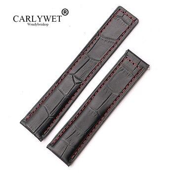 CARLYWET 20 22mm Atacado Pontos Vermelhos de Substituição de Alta Qualidade do Couro Genuíno Cinto Cinta Banda Relógio de Pulso