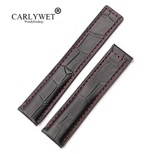 CARLYWET 20 22mm Wholesale Red Stitches High Quality Genuine Leather Replacement Wrist Watch Band Strap Belt