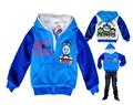 Otoño e invierno de los niños sudadera de dibujos animados Thomas sudaderas con capucha azul de manga larga grueso fleece zipper abrigos de vestir exteriores 6 pc/lot