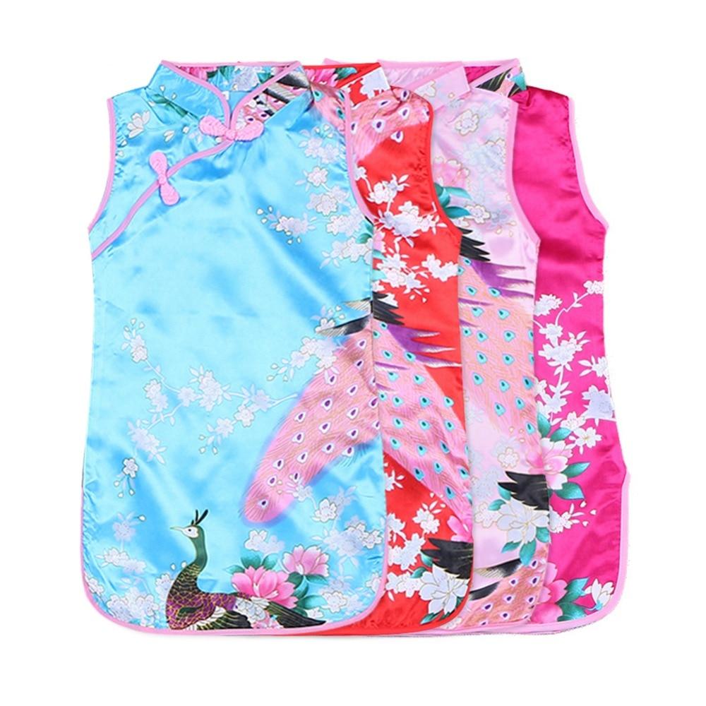 1 Stück Baby Mädchen Kleid Pfau Ärmellose Kleid Chinesischen Stil Qipao Schlanken Traditionellen Kleid Cheongsam Kind Mädchen Kleidung