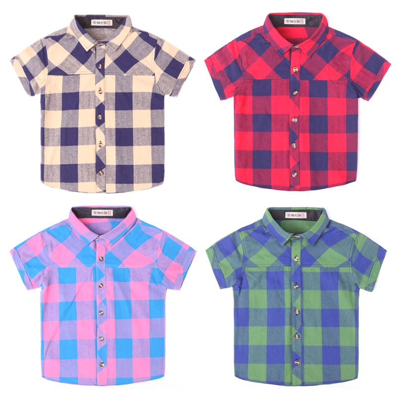 ФОТО 2016 new spring autumn Girls Kids Boys Plaid cotton short - sleeved shirt  comfortable cute baby Clothes Children Clothing
