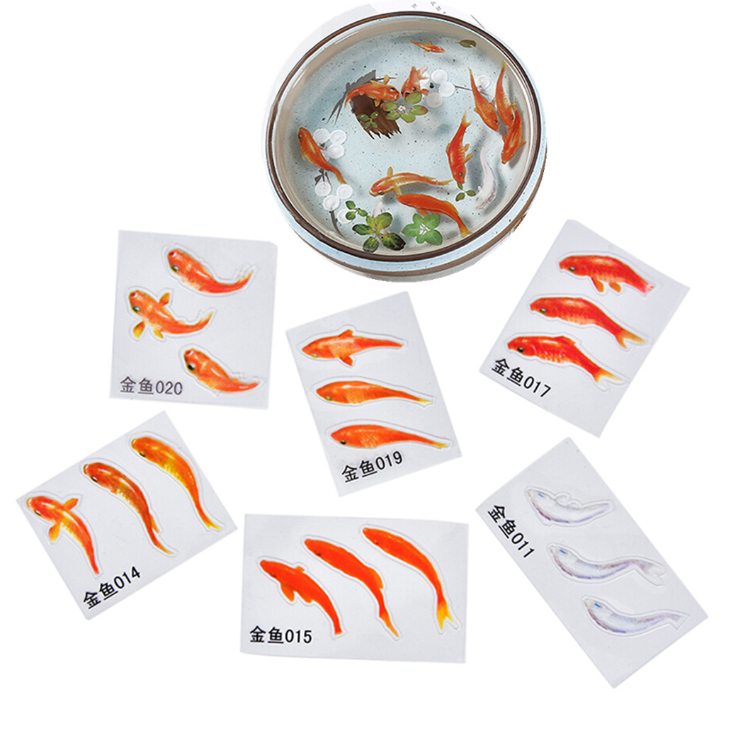 9Pcs/Set 3D Simulation Creative Red Fish Resin Decorative Sticker Fit DIY Tools Molds Micro Landscape Scrapbooking Stickers