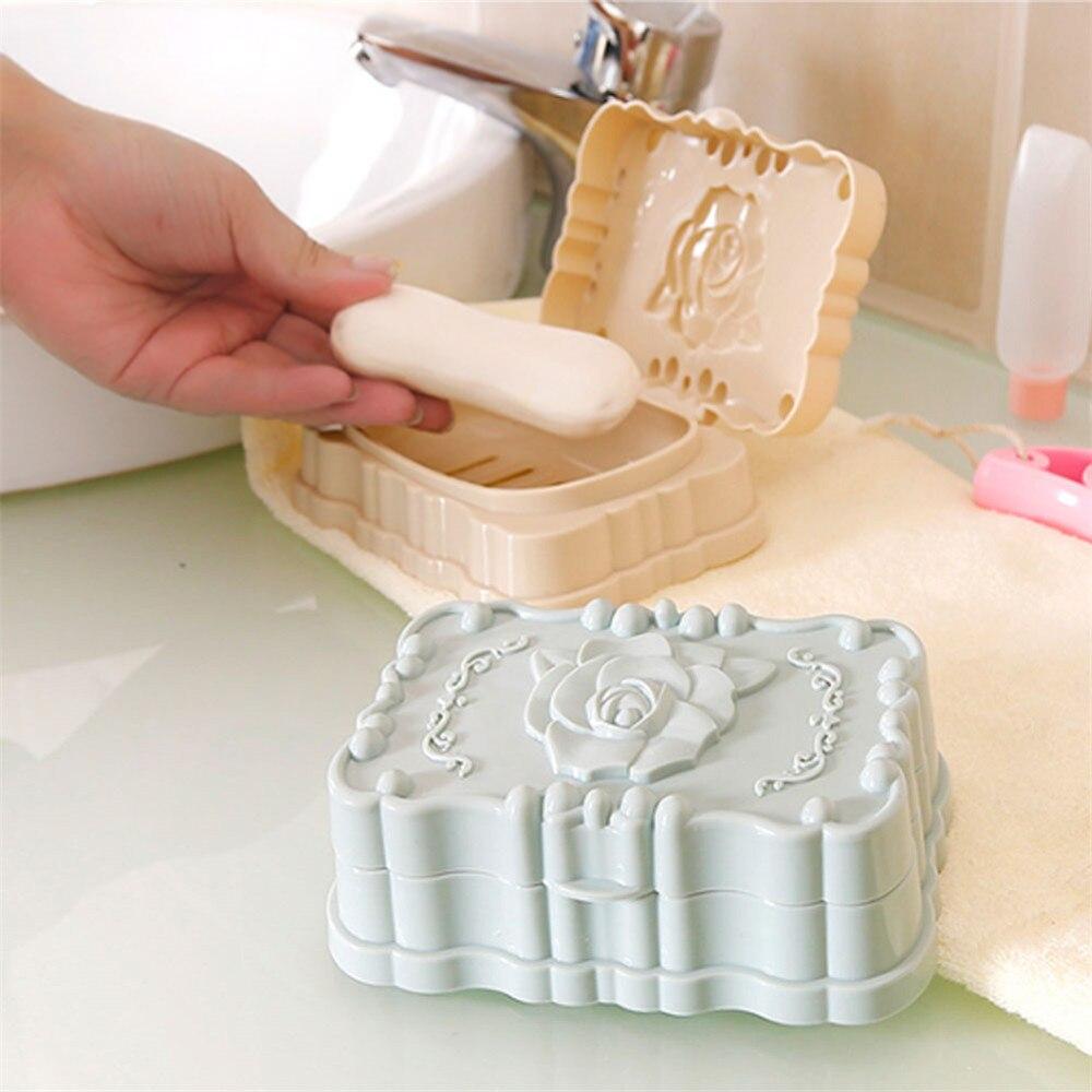 Bathroom:  YICAI New Product Travel Buckle Lid Toilets Creative Rose Soapbox Shower Washing Hotel Home Bathroom - Martin's & Co