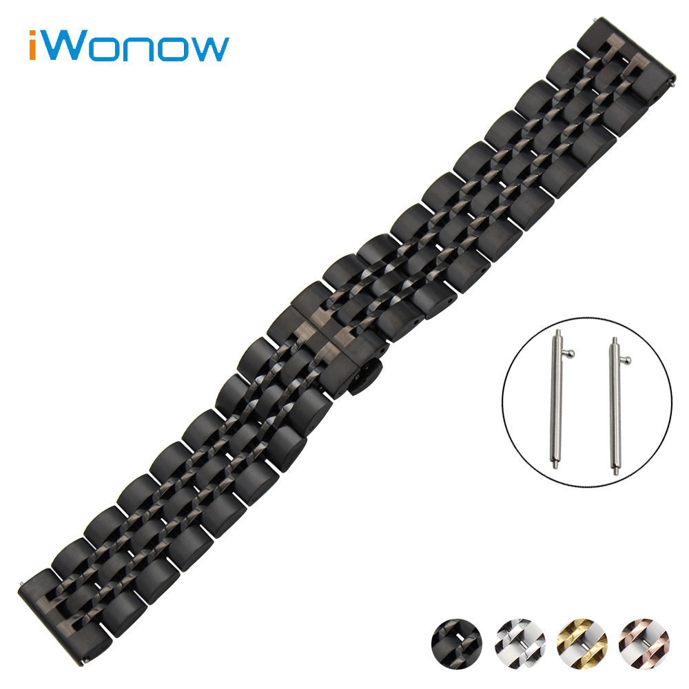 Stainless Steel Watch Band 20mm 22mm for Swiss Military Quick Release Strap Butterfly Buckle Wrist Belt Bracelet Black White veronese ws 721 шкатулка сова на книгах