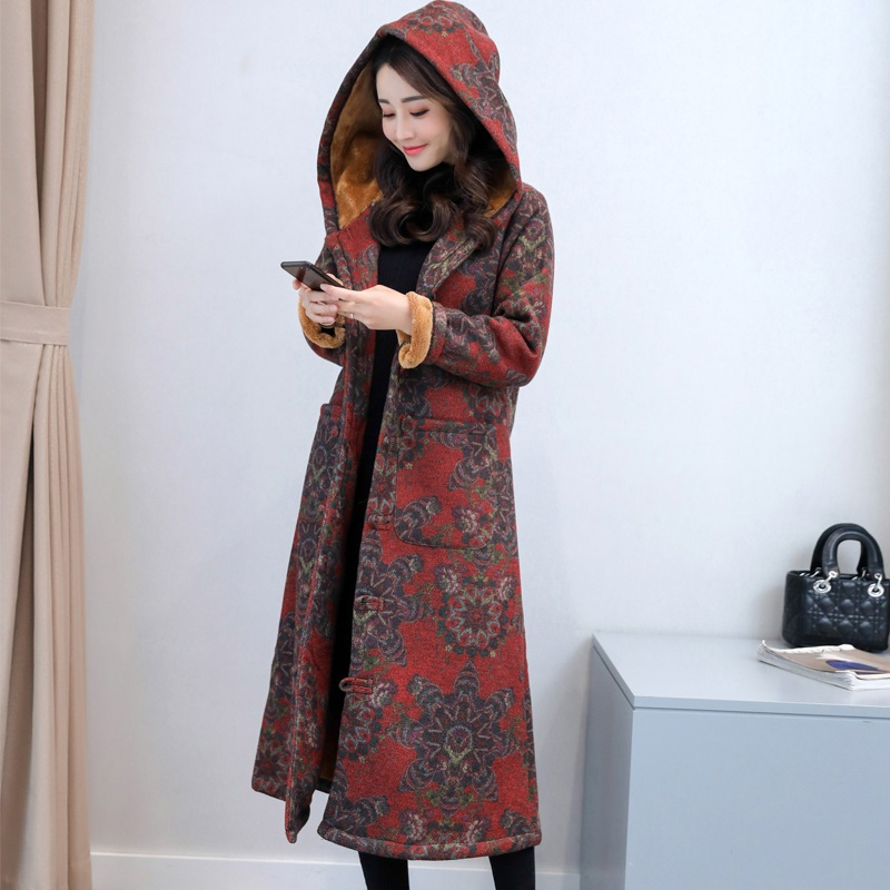 Winter National Style Coat Women s Long Plus Velvet Thickening Chinese Style Button Buckle Retro Hooded
