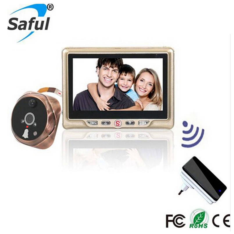 "Saful 4.3""TFT-LCD Digital video door viewer with Multi-languages recordable peephole with one wireless doorbell Home Sercurity"