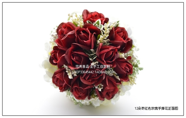 2017 Дешевые Свадебные/Невесты Букеты Новый Бордовый Красное Вино Свадебные Ручной Работы Искусственный Букет Роз де mariage рамо де ла бода