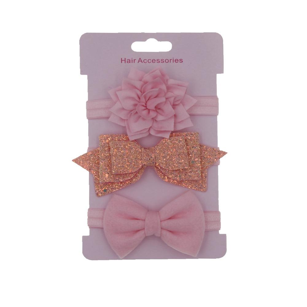 Nishine 3pcs/lot Baby Girls Flower Headband Set Hair Band Sequin Bowknot Lovely   Headwear   Children Kids Princess Hair Accessories