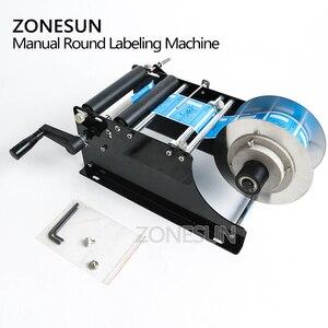 Image 5 - ZONESUN ידנית עגולה בקבוק תיוג מכונת בירה פחיות יין דבק מדבקת מתייג תווית Dispenser מכונת אריזה מכונה