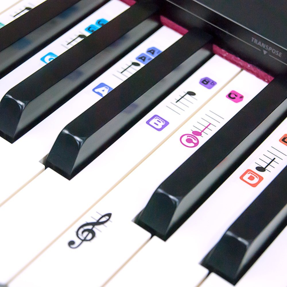 Piano Stickers for 49 / 61 / 76 / 88 Keys Removable Transparent Coating Color Keyboard Music Note Stickers Kids and Beginners
