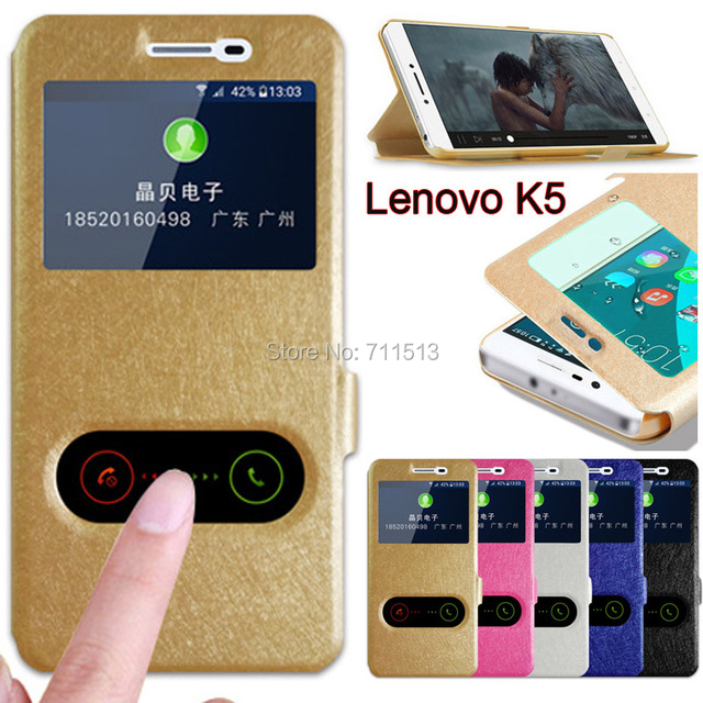 buy popular b6300 136c0 US $2.69 10% OFF|Lenovo Vibe K5 case Lenovo K5 Plus cover flip leather view  window stand case for Lenovo Vibe K5 K5 plus 5.0 Lenovo Lemon 3 a6020-in ...