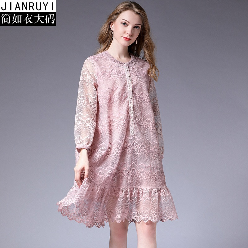 2018 Woman Lace Dress Floral Print Loose Maternity Clothes Casual Pregnancy Dress Elegant Party Dress Plus Size XL-4XL Button