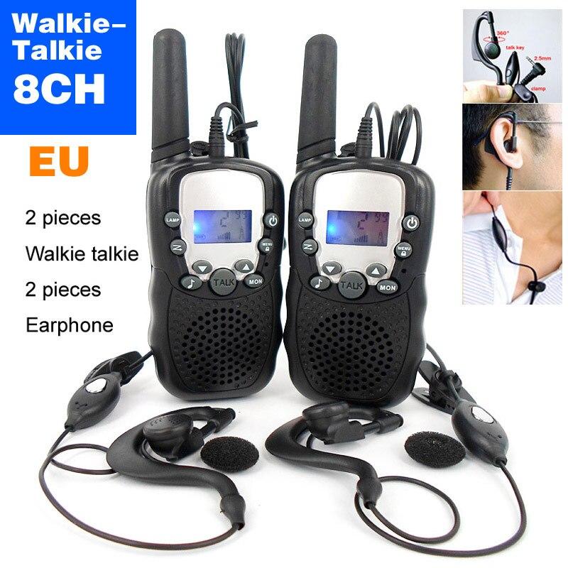 bilder für 8-kanal geeignet für europäische norm 0.5w uhf auto mehreren Kanälen 2-Wege kinder walkie-talkie Reise t-388 + kopfhörer
