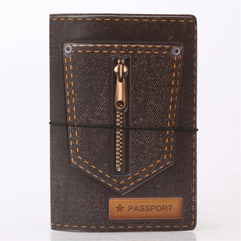 Black Jeans zipper Passport Holder ID Card Holder 3D Design PVC Leather Business Card Bag Passport Cover 14*10CM цены онлайн