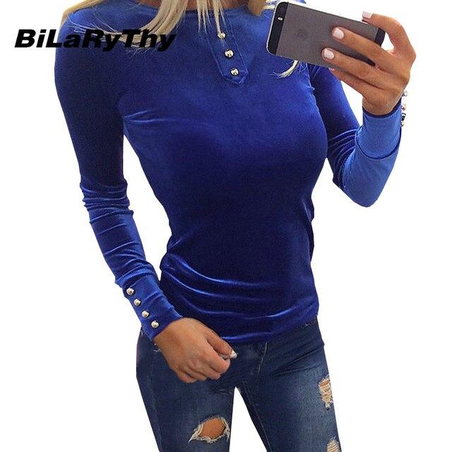BiLaRyThy Autumn Winter Women's Slim Velvet Buttons Tops Tees O Neck Long Sleeve Solid Vintage Pullovers T-shirt Basic Top