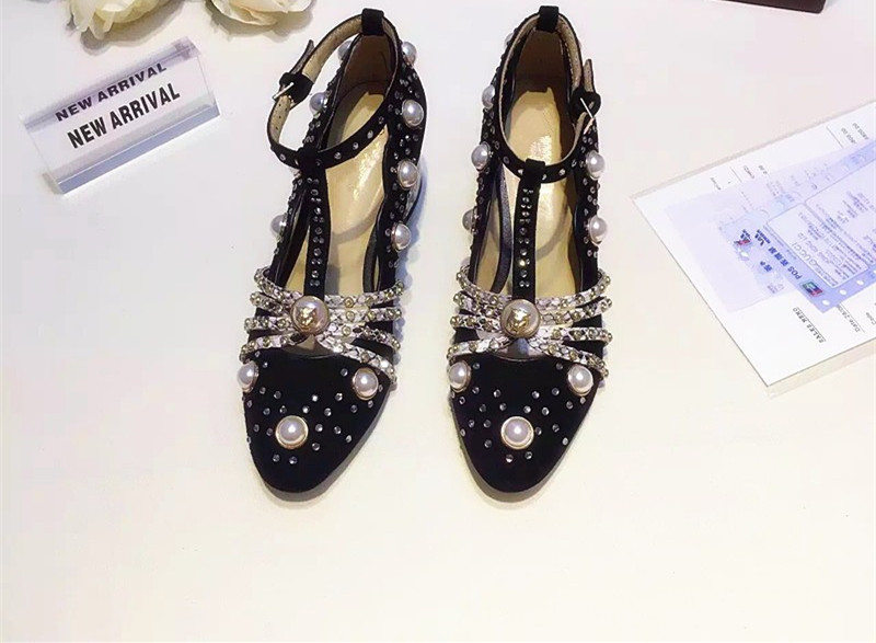 black wedding shoes with med heel sheepskin shoes genuine leather rhinestone pearl round toe dress shoes
