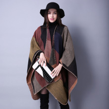 2016 winter Super thickening Ladies Cape Poncho Shawl Sweaters women knitted loose Plaid Cardigan female knitwear Free shipping