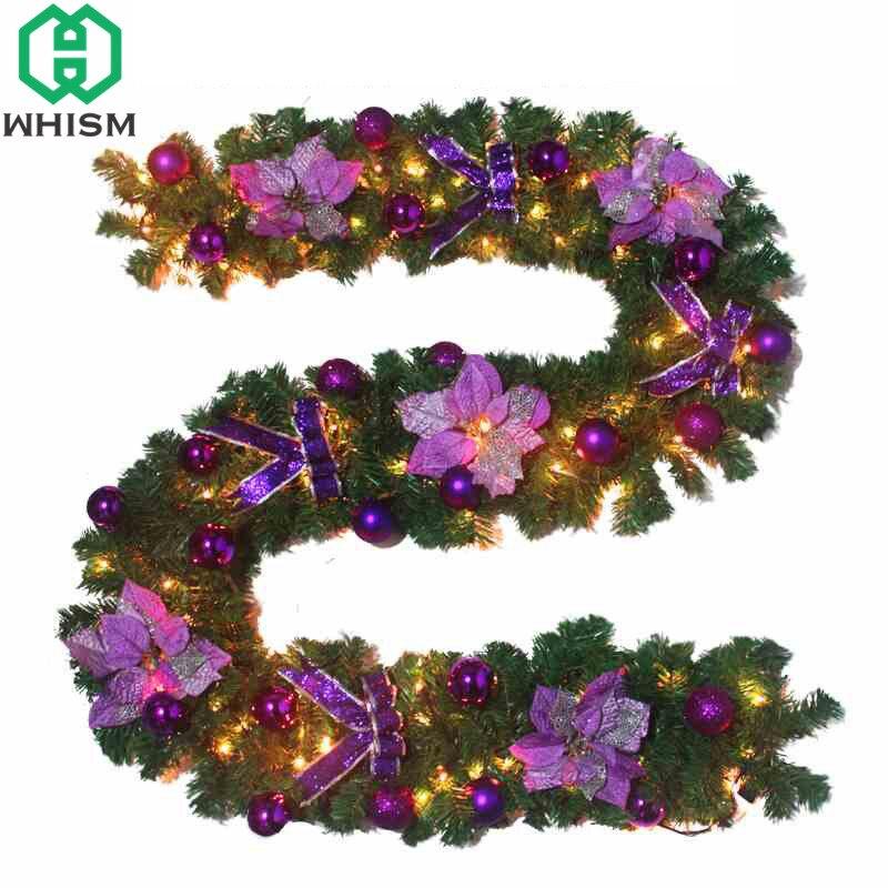WHISM 270cm Green Christmas Garland New Year Pendant Decoration PVC Rattan Wreath Xmas Pine Tree Merry Christmas Tree Ornaments