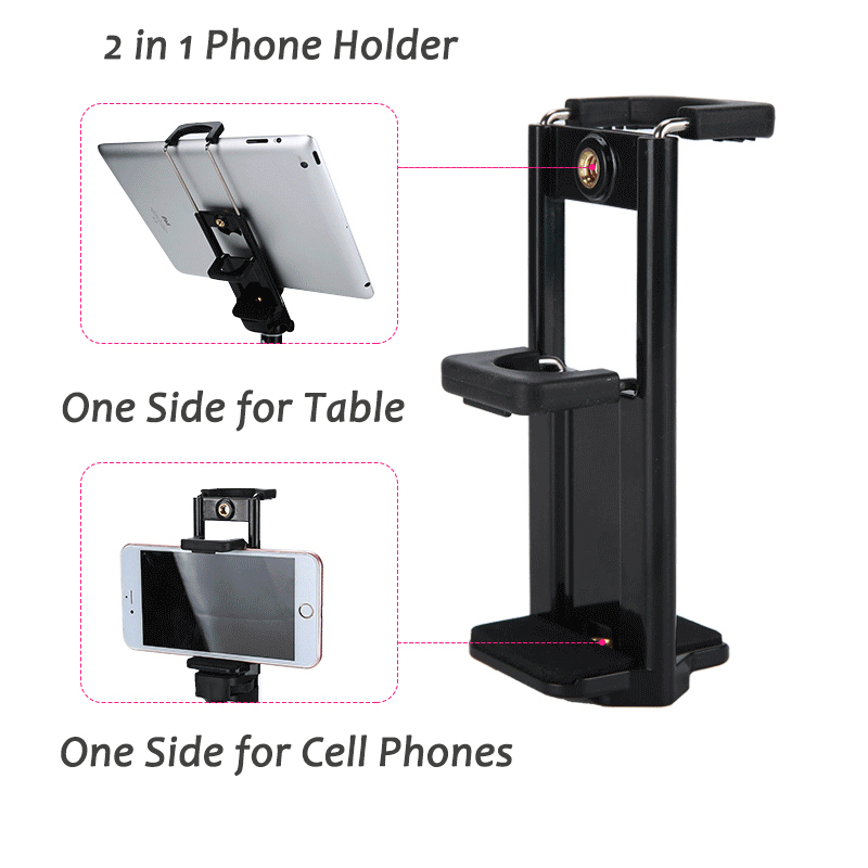 Купить с кэшбэком 55inch Phone/Camera Tripod Professional Portable Travel Aluminum Tripode with Phone Holder for iPhone iPad Mobile Dslr Movil