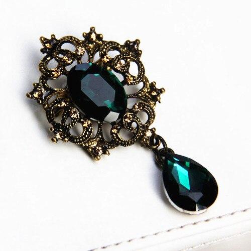 Винтажный стиль, Зеленый Кристалл, подвеска, Подарочная брошка, Женская Брошь с булавкой для костюма, модная женская пряжка, подвеска - Окраска металла: Green