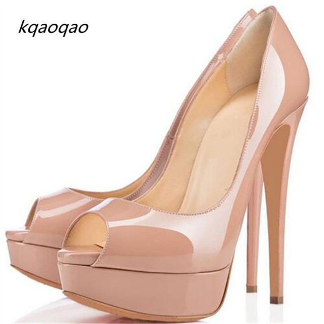 size 40 8368d ebd67 US $30.73 47% OFF|Lady Peep Open Red Toe Pumps 14CM Platform Shoes Woman  Sexy Bottom High Heels Nude Patent Leather Wedding Shoes Dress Bridal -in  ...