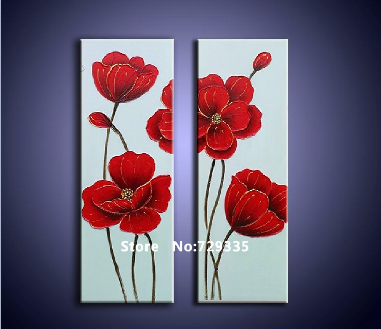 Free Shipping100Hand Painted 2pcs Oil Painting On Canvas Red Flower Acrylic Home Decoration Modern Art Wall Picture In Calligraphy From