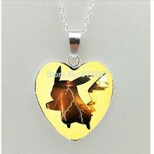 Pokemon Pikachu Yellow Heart Shaped Necklace