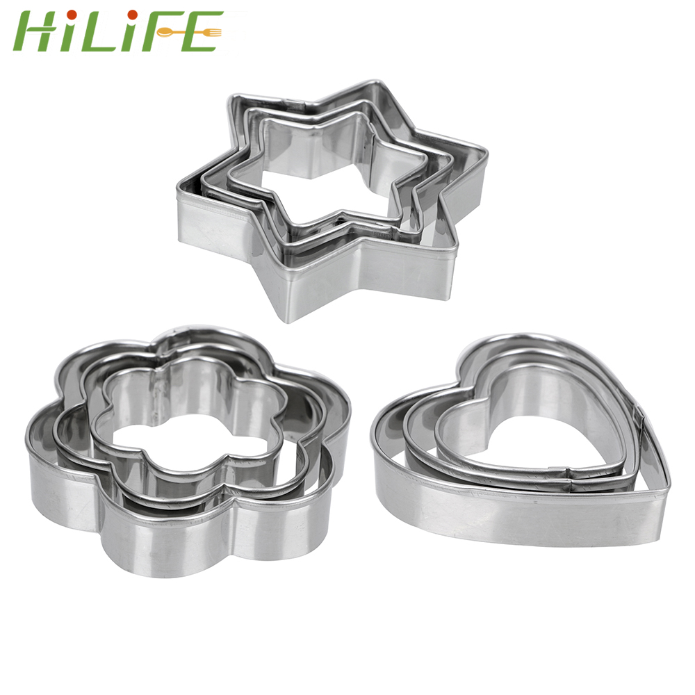 HILIFE Baking Mould Star Heart Flower Cutter 3pcs/set Stainless Steel Egg Mould Cookie Cutter Biscuit DIY Mold
