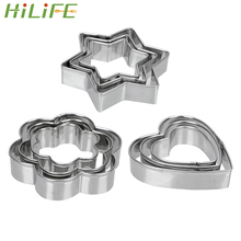 HILIFE Baking Mould Star Heart Flower Cutter 3pcs/set Stainless Steel Egg Cookie Biscuit DIY Mold