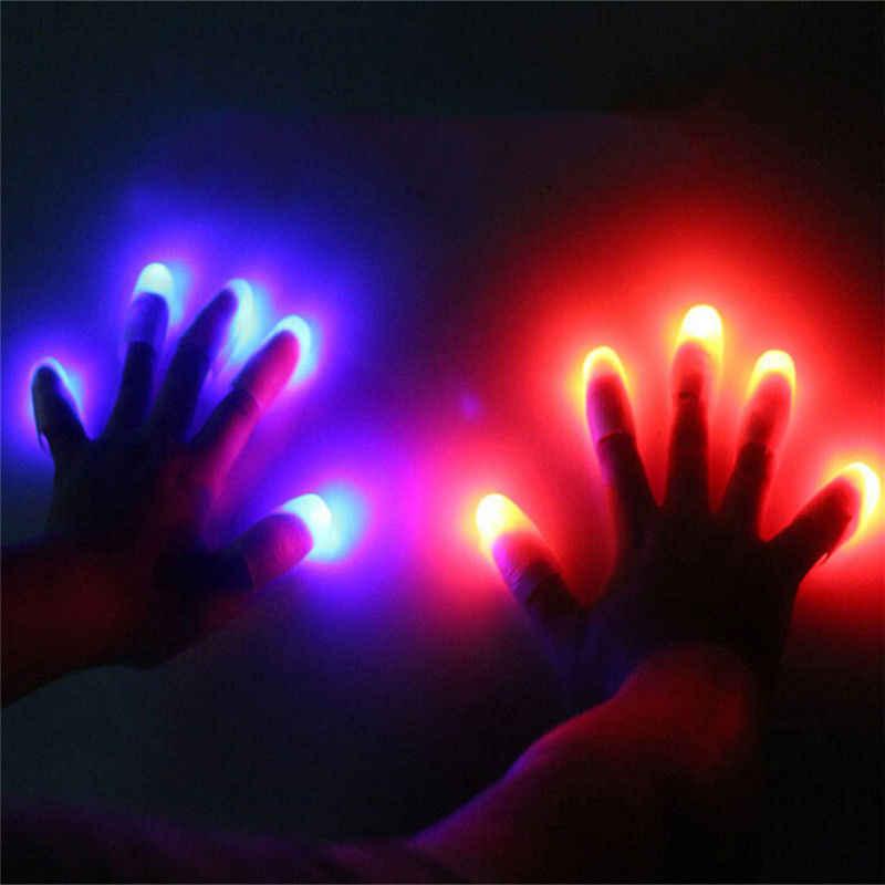 2 PCS Lucu Novelty Gag LED Light Flashing Jari Magic Trick Props Anak Menakjubkan Fantastis Cahaya Mainan Hadiah Pesta Lajang