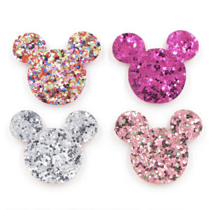 20Pcs Mix Colors Glitter Leather Pads Baby Girls Hair Accessories Sequins Mickey Appliqued for BB Clip Decoration K55(China)