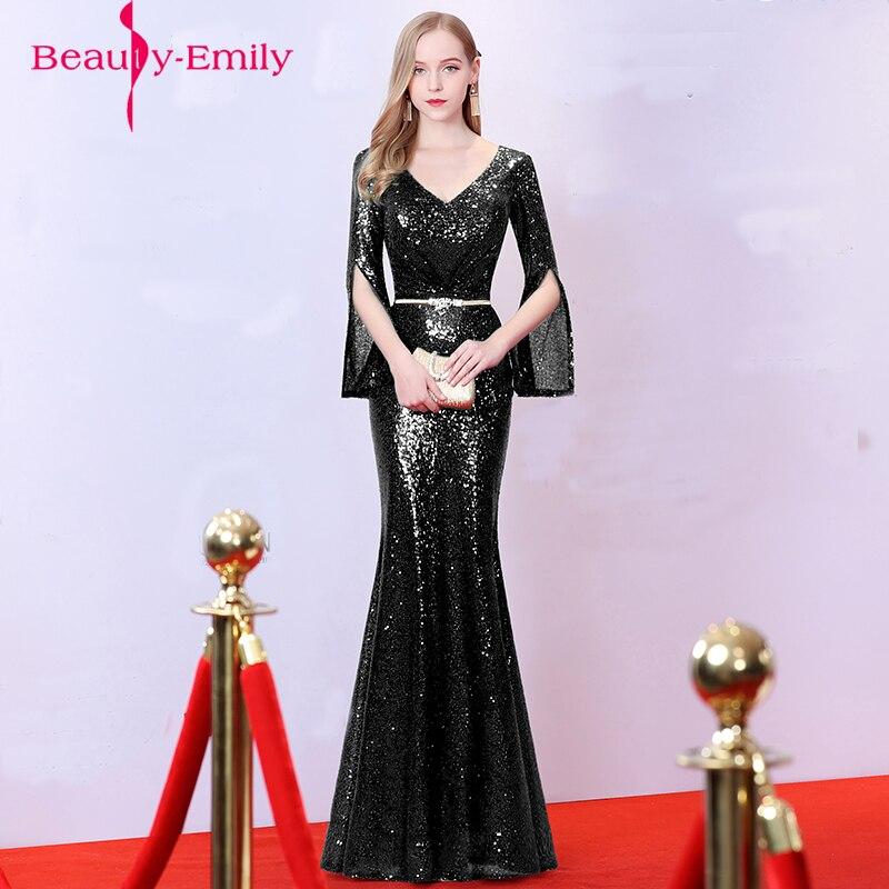 Winter women Estido de festa Luxury Evening dresses noble black robe de soiree Gold Sequins Mermaid Evening gowns Long 2018 Best