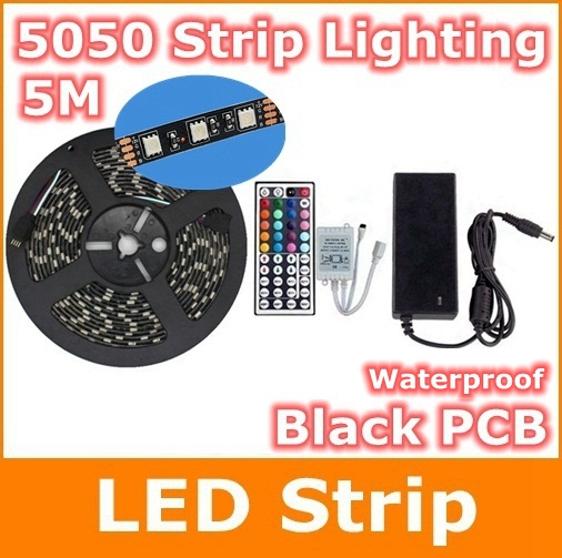 5050 RGB LED Strip 5M 600LEDs Led Diode Tape black PCB IP65 +44key Remote Control+ 5A Power Adapter For Home Garden Decoration led strip 5050 rgb black pcb dc12v flexible led light 60 led m5050 led diode tape rgb led wifi controller with power adapter eu